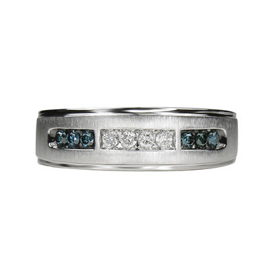 Mens 1/4 CT. T.W Genuine White & Color-Enhanced Blue Diamond 10K White Gold Wedding Band