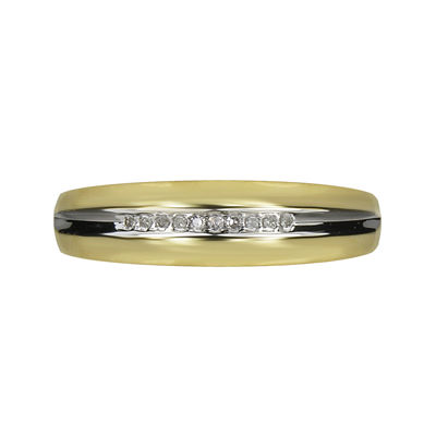 Mens Diamond-Accent 10K Yellow Gold Wedding Band