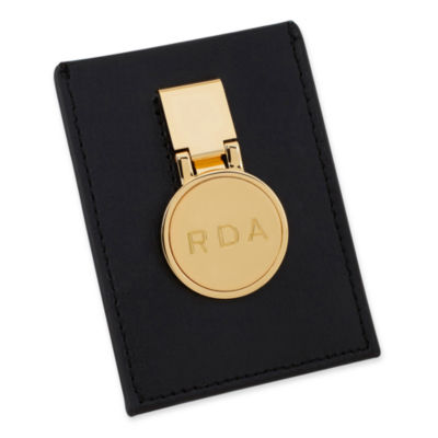 Gold Personalized Hinged Money Clip w/ Leather Pouch Wallet