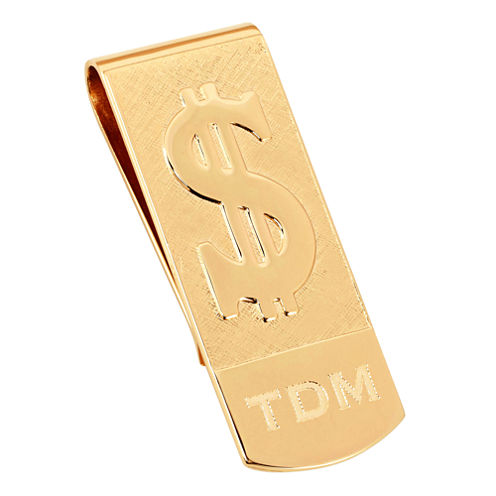 Personalized Money Clip w/ Raised Dollar Sign