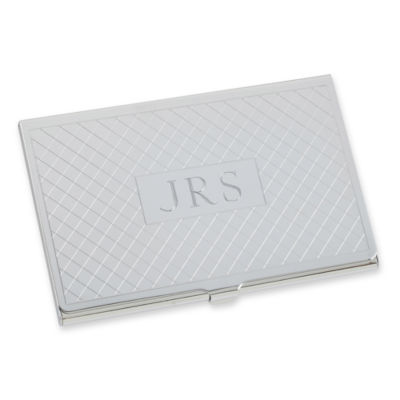Personalized Card Case w/ Diagonal Grid Pattern