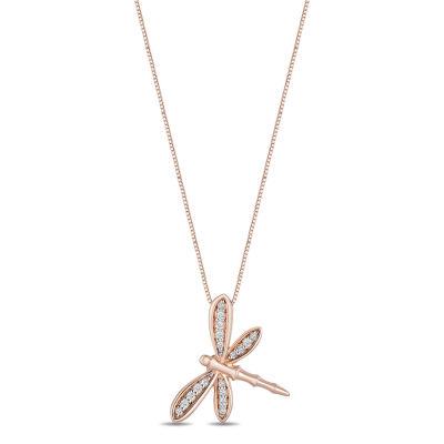 Enchanted Disney Fine Jewelry Womens 1/10 CT. T.W. Genuine Diamond 14K Rose Gold Over Silver Disney Princess Pendant