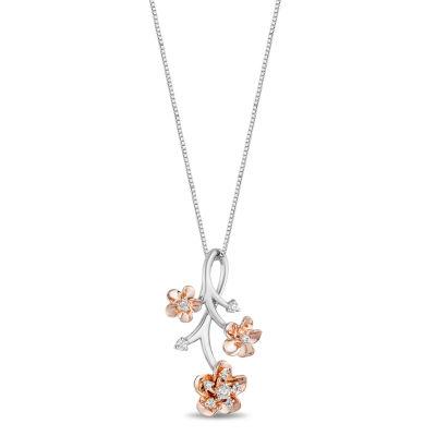 Enchanted Disney Fine Jewelry Womens 1/10 CT. T.W. Genuine Diamond 14K Rose Gold Over Silver Flower Disney Princess Pendant
