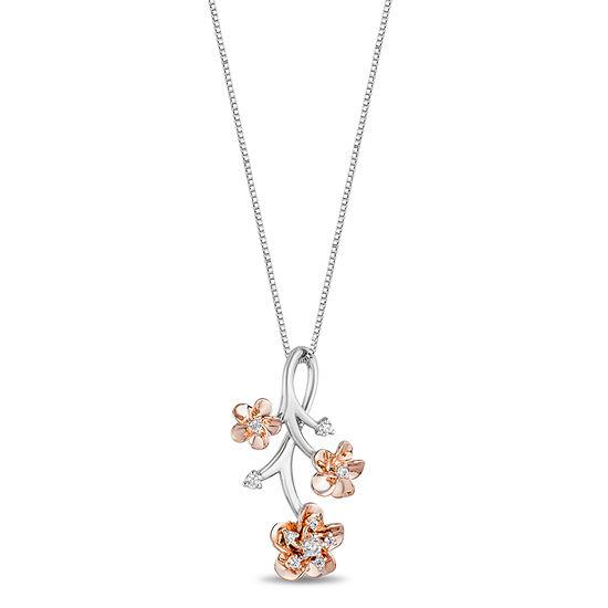 Enchanted Disney Fine Jewelry Womens 1/10 CT. T.W. Genuine White Diamond 14K Rose Gold Over Silver Sterling Silver Flower Disney Princess Pendant