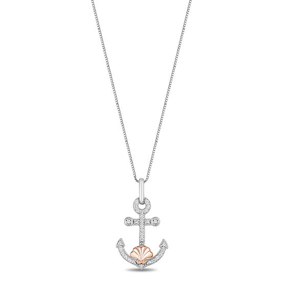Enchanted Disney Fine Jewelry Womens 1/10 CT. T.W. Genuine Diamond 14K Rose Gold Over Silver Disney Princess Pendant