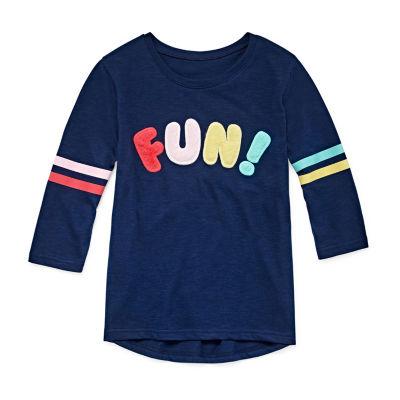 Arizona Girls Crew Neck Long Sleeve Glitter Graphic T-Shirt