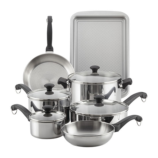 Farberware 12-pc. Stainless Steel Non-Stick Cookware Set
