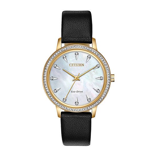 Citizen Silhouette Crystal Womens Diamond Accent Black Leather Strap Watch-Fe7042-07d