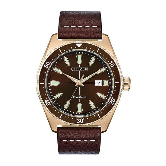 Citizen Mens Brown Strap Watch-Aw1593-06x