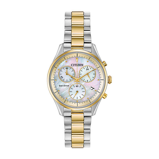 Citizen Chandler Womens Chronograph Two Tone Stainless Steel Bracelet Watch-Fb1444-56d