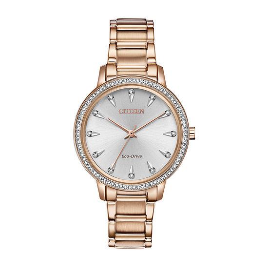 Citizen Womens Rose Goldtone Bracelet Watch-Fe7043-55a