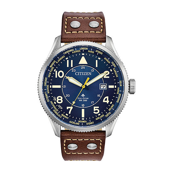 Citizen Promaster Nighthawk Mens Brown Leather Strap Watch-Bx1010-11l