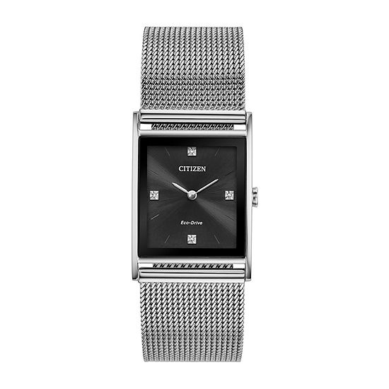 Citizen Axiom Unisex Adult Diamond Accent Silver Tone Stainless Steel Bracelet Watch-Bl6000-55e