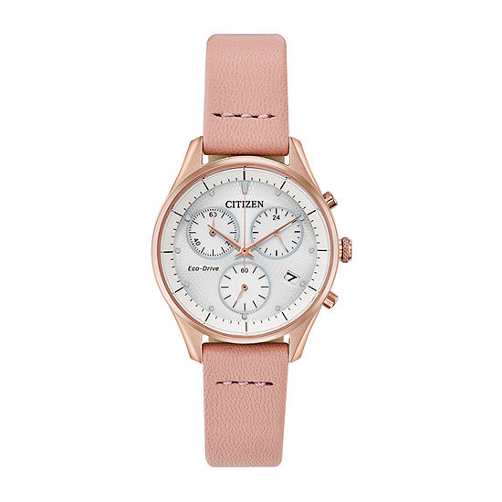 Citizen Chandler Womens Chronograph Pink Leather Strap Watch-Fb1443-08a