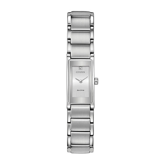 Citizen Axiom Womens Diamond Accent Silver Tone Stainless Steel Bracelet Watch - Eg7050-54a
