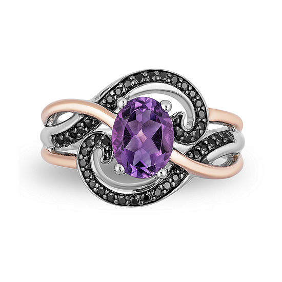 Enchanted Disney Fine Jewelry Villains Womens Genuine Purple Amethyst 14K Rose Gold Over Silver The Little Mermaid Cocktail Ring