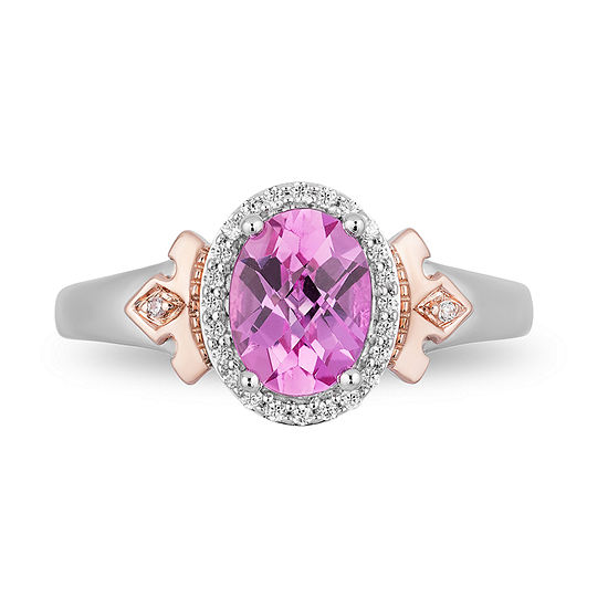 Enchanted Disney Fine Jewelry Womens 1/10 CT. T.W. Lab Created Pink Sapphire 14K Rose Gold Over Silver Sterling Silver Disney Princess Cocktail Ring