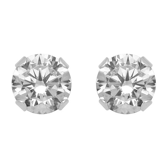 Lab Created White Sapphire 10K Gold 4mm Stud Earrings