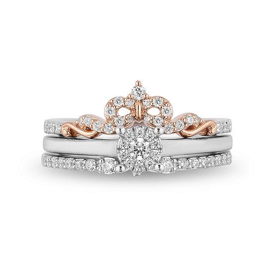 Enchanted Disney Fine Jewelry Womens 3/8 CT. T.W. Genuine White Diamond 10K Rose Gold Bridal Set