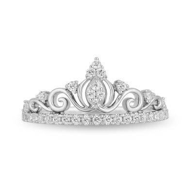 Enchanted Disney Fine Jewelry Womens 1/4 CT. T.W. Genuine White Diamond 10K White Gold Promise Ring