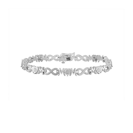 Pure Silver Over Brass 7.5 Inch Solid Heart Link Bracelet