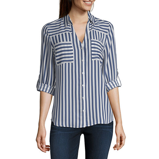 c52c336b by&by Womens V Neck 3/4 Sleeve Blouse-Juniors - JCPenney
