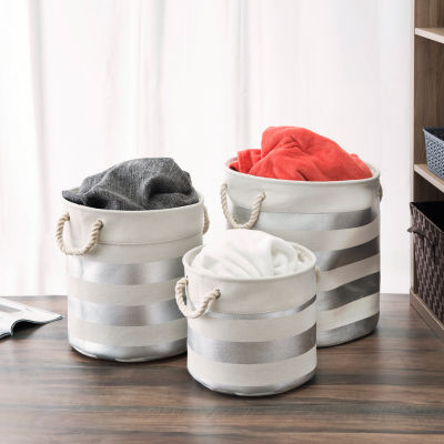 Home Basics 3 Piece Round Canvas Bin
