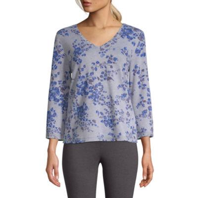 St. John's Bay Active-Womens V Neck 3/4 Sleeve T-Shirt