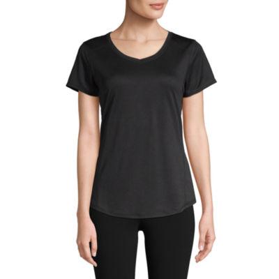St. John's Bay Active S19 Quick Dri Tee-Womens V Neck Short Sleeve T-Shirt