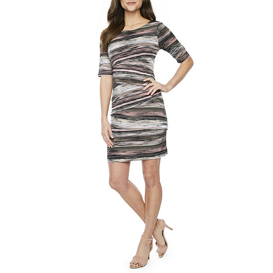 Connected Apparel Short Sleeve Striped Sheath Dress