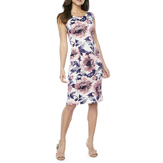 Connected Apparel Sleeveless Floral Midi Sheath Dress