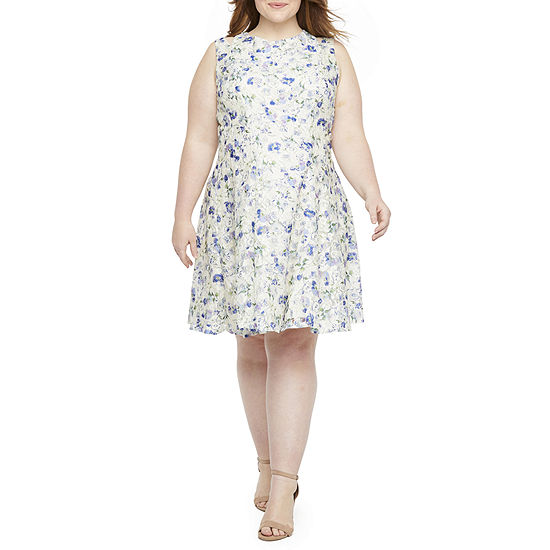 Danny Nicole Sleeveless Floral Lace Fit Flare Dress Plus