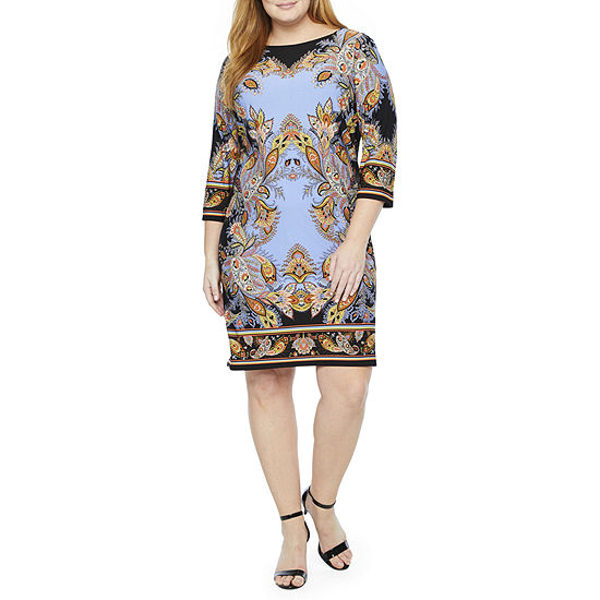 London Times 3/4 Sleeve Paisley Shift Dress- Plus