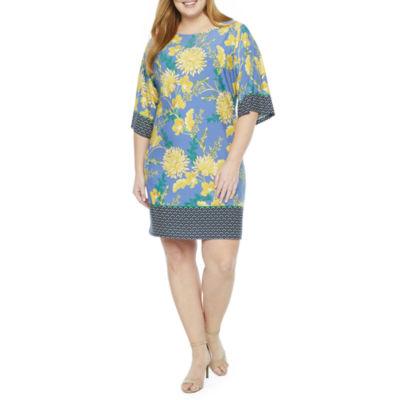 London Times 3/4 Sleeve Floral Shift Dress-Plus
