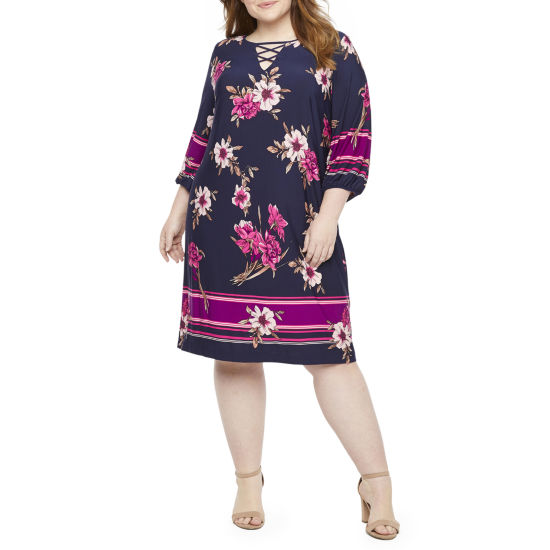 Studio 1 3/4 Sleeve Floral Shift Dress-Plus