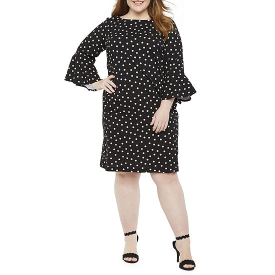 Liz Claiborne-Plus 3/4 Sleeve Dots Sheath Dress