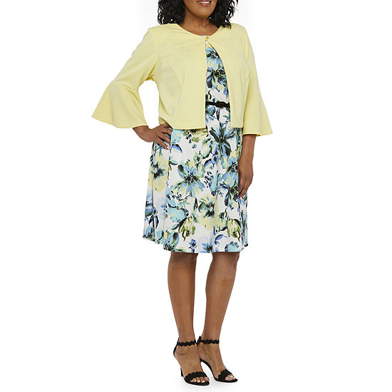Danny & Nicole 3/4 Bell Sleeve Floral Belted Jacket Dress-Plus