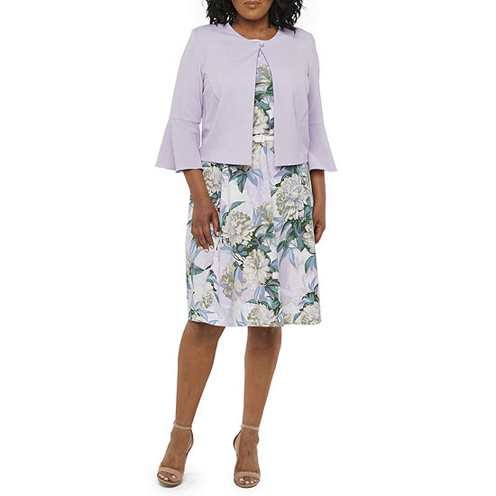 Danny Nicole 3 4 Bell Sleeve Floral Belted Jacket Dress Plus