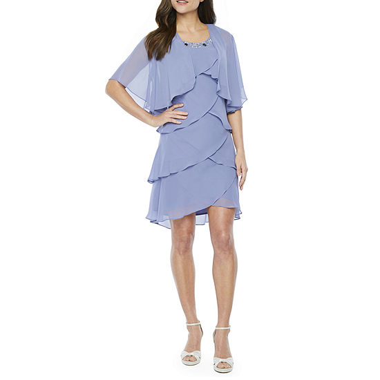 S. L. Fashions Short Sleeve Beaded Chiffon Dress with Removable Shrug