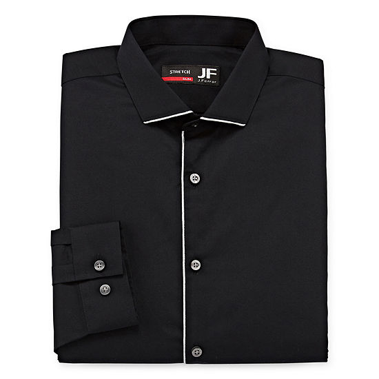 JF J.Ferrar Mens Easy-care Point Collar Long Sleeve Stretch Big and Tall Dress Shirt