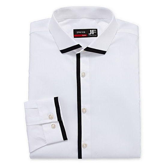 JF J.Ferrar Mens Easy-care Point Collar Long Sleeve Stretch Big and Tall Dress Shirt