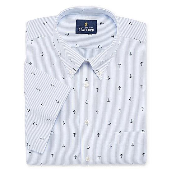 Stafford Travel Wrinkle Free Stretch Oxford Short Sleeve Pattern Dress Shirt