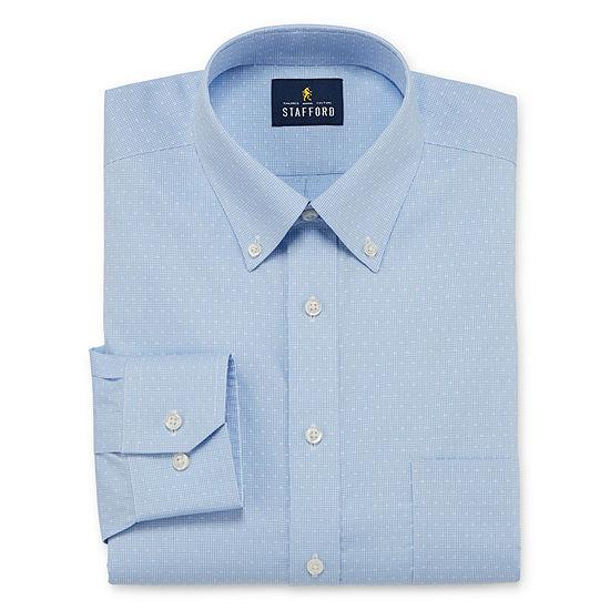 Stafford Executive Non-Iron Cotton Pinpoint Oxford Mens Button Down Collar Long Sleeve Stretch Dress Shirt