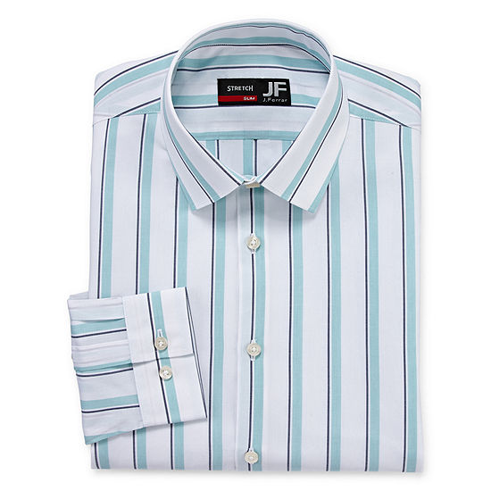 JF J.Ferrar - Slim Easy Care Stretch Mens Point Collar Long Sleeve Stretch Dress Shirt
