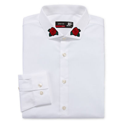 JF J.Ferrar Easy Care Mens Point Collar Long Sleeve Stretch Dress Shirt