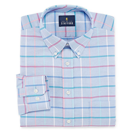 Stafford Mens Wrinkle Free Oxford Button Down Collar Dress Shirt, 18 34-35, Red