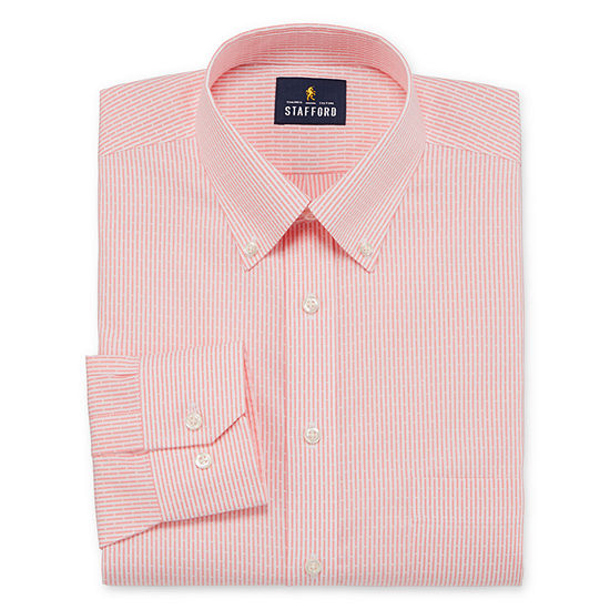 Stafford Executive Non-Iron Cotton Pinpoint Oxford Mens Button Down Collar Long Sleeve Stretch Dress Shirt