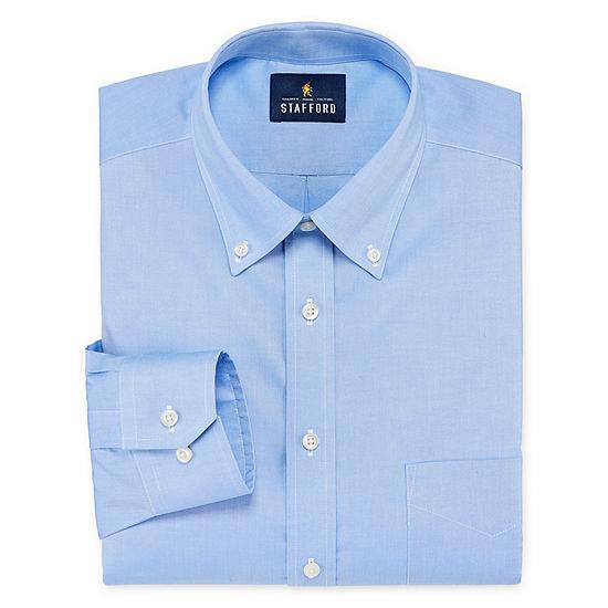 Stafford Executive Non-Iron Cotton Oxford Mens Button Down Collar Long Sleeve Stretch Dress Shirt