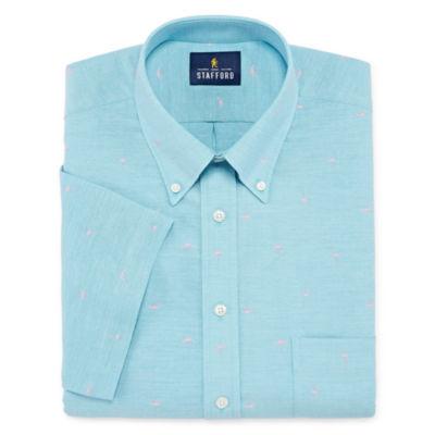 Stafford Travel Wrinkle Free Stretch Oxford Short Sleeve Big and Tall Pattern Dress Shirt