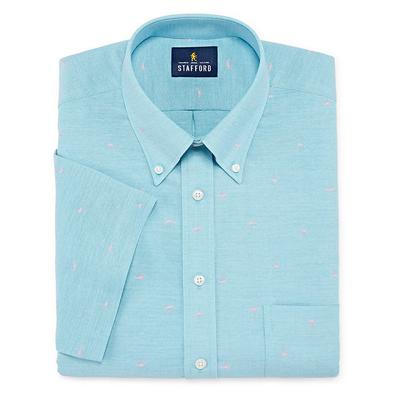 Stafford Travel Wrinkle Free Stretch Oxford Short Sleeve Mens Button Down Collar Dress Shirt Big And Tall
